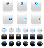 Web buttons (black and white)-2 — Stock Vector