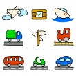 Stock Vector: Transportation icons (color variation)