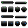Black buttons for web — Stockvectorbeeld