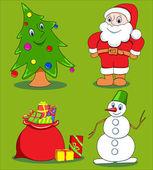 Conjunto de dibujos animados de navidad. — Vector de stock