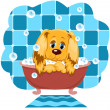 The dog bathes. — Stock Vector