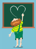 Boy draws heart. — Stock Vector