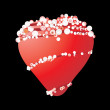 Pearls round red heart — Stock Vector