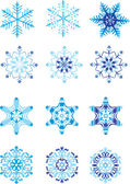 Crystal modulation of a snowflake — Stock Vector