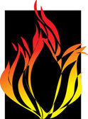 Flamens a black background. — Vector de stock
