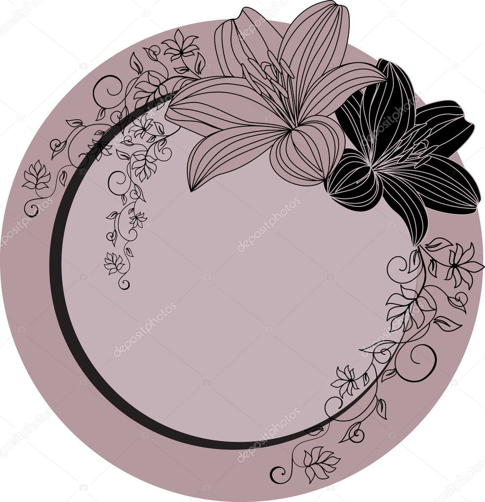 Contur of lilies on a black background. Vector illustration — Stock Vector #2757383