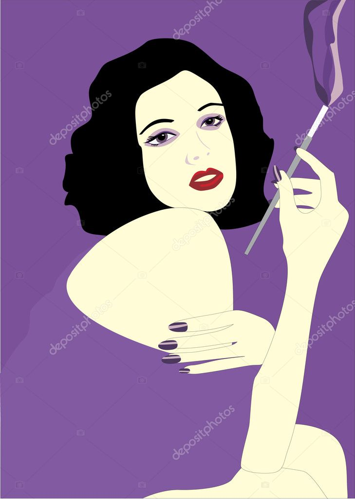 The girl with a gmoking cigarette.Vector — Stock Vector #2757430