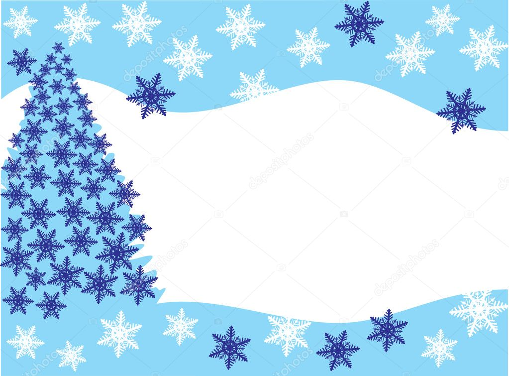 Christmas fur-tree in snowflakes on snow. Vector — Stock Vector #2757484