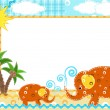 Vector de stock : Children's photo frame. Elephant.
