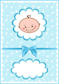 Cheerful blue babies card. — Stock Vector