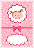 Cheerful pink babies card. — Stock Vector