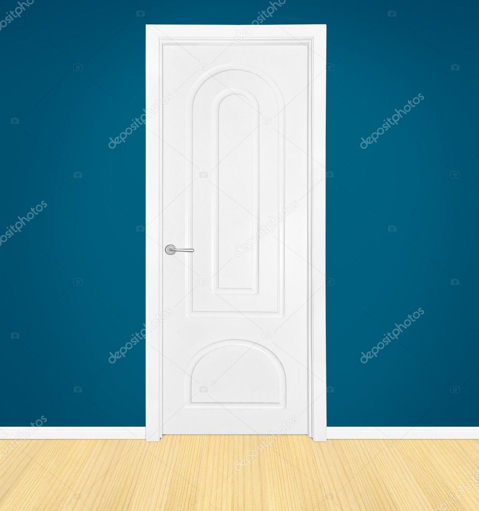 Closed white door in home interior — Stock Photo #2750230