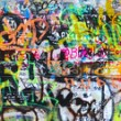 Wide panoramic graffiti - Stock Photo