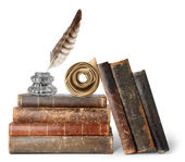 Old books, inkstand and scroll — Stock Photo