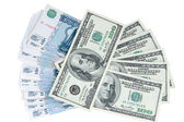 Exchange of currency roubles and dollars — Stock Photo