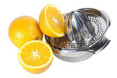 Oranges and juice extractor — Stock Photo