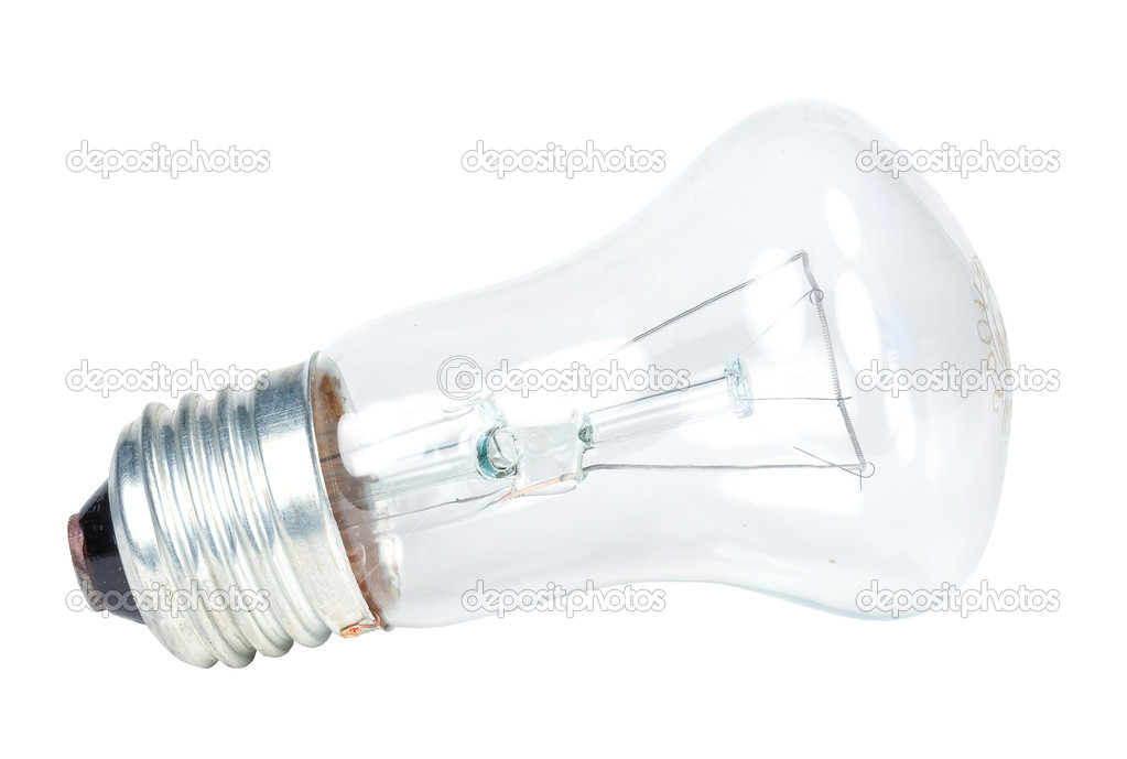 Electric glass light bulb on white background — Stock Photo #3567942