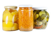 Canned Apricots, cucumbers and carrots — Stock Photo