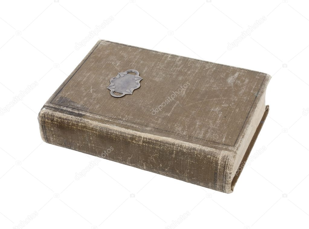 Well loved antique book with worn cover - path included — Stock Photo #3729296