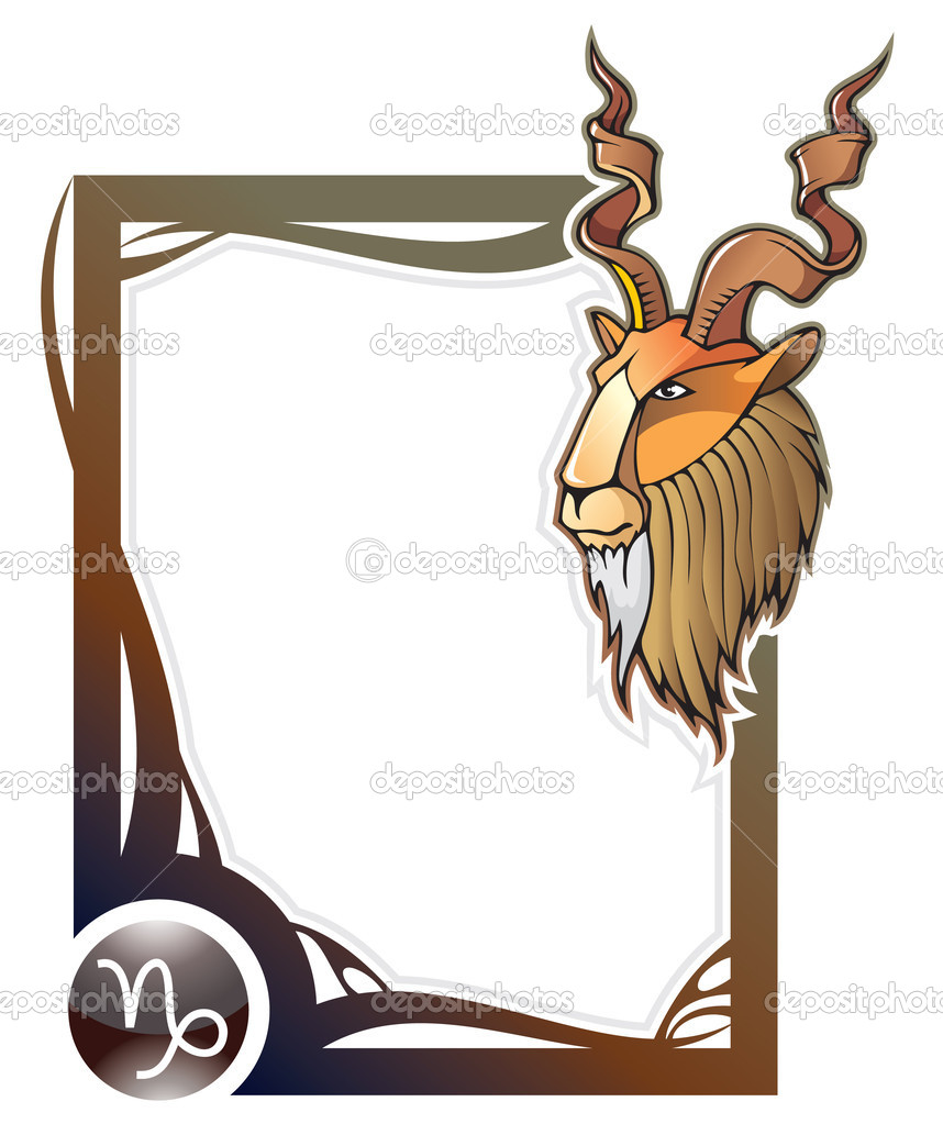 Capricorn, the tenth sign from the series of the zodiac frames in cartoon style, vector illustration — Stock Vector #2915233