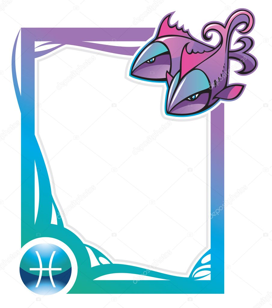 Pisces, the twelfth sign from the series of the zodiac frames in cartoon style, vector illustration — Stock Vector #2919722