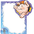 Chinese horoscope frame series: Pig - Stock Vector