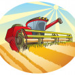Stock Vector: Harvesting machine