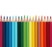 Assortment of coloured pencils on white — Stock Photo