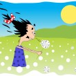 Stock Vector: Girl and dandelion