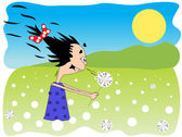 Girl and dandelion — Stock Vector