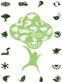 Green recycle icons in the tree — Stock Vector