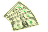 Banknotes in one dollar — Stock Photo
