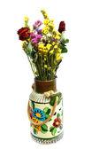 Vieux vase et fleurs séchées — Photo