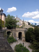 Luxemburg, ancients wall and buildings — Stock Photo