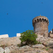 Old castle tower over blue sky — Stock Photo
