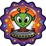Friendly Alien In UFO — Stock Vector #3791621