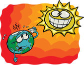 Crazy Sun VS Earth — Stock Vector