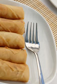 Spring rolls and fork — Stock Photo