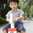 Asian boy on rocking horse — Stock Photo
