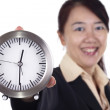 Woman with clock — Stock Photo