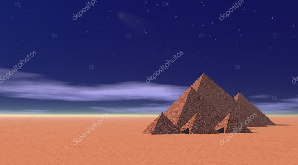 Three big and three small beautiful pyramids in the desert by sunset and blue night with fog and stars — Stock Photo #3391121