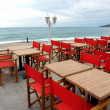 Stock Photo: Red restaurant terrace