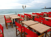 Red restaurant terrace — Stock Photo