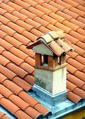 Red small chimney — Stock Photo