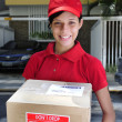Delivery courier delivering package — Stok Fotoğraf #2797508