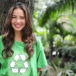Stock Photo: Environmental activist in the forest wearing re