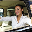 Businesswoman showing keys of her new off-road v — Foto Stock