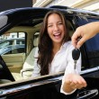 Stock Photo: Businesswoman receiving keys of her new off-road