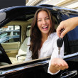 Stock Photo: Businesswomreceiving keys of her new off-road