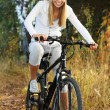 Stock Photo: Bicycling in forest